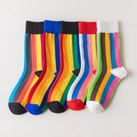 2021 Autumn and Winter Creative Couple Women's Socks Rainbow Vertical Stripes Tube Socks College Woman's Girl's Socks