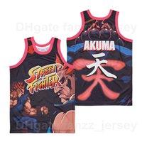 Movie Basketball Akuma Street Fighter Videojuegos Jersey Men Hip Hop Hop Hop Team Color Hiphop High School High School School Sport Fans Camisa Buena Calidad a la venta