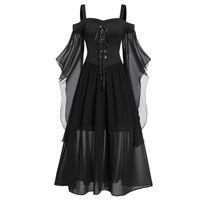 Старинные средневековые халаты косплей костюм костюм женщины плюс размер холодного плеча бабочка рукава шнурок Halloween платье принцессы повседневные платья