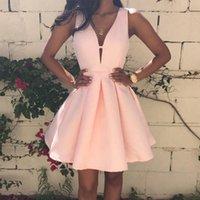 홈 커밍 드레스 2021 깊은 V 목 지퍼 다시 졸업식 파티 하녀의 명예 드레스 루슈 루시 쇼트 / 미니 댄스 vestidos 여자 클럽웨어