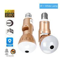Lámpara de bombilla de cámara IP Luz inalámbrica 2MP HD 360 grados Panoramic Light Home CCTV Seguridad Video Video Video Cámara WiFi