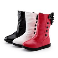 Botas jgshowkito otoño invierno niñas moda caliente algodón nieve zapatos para niños para botón Bowtie