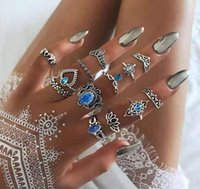 Ancient Silver Knuckle Ring Sets Crown Heart Elephant Turtle Stacking Midi Rings Set Women Fashion Jewelry 13pcs set