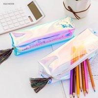 الإبداعية الليزر حقيبة قلم رصاص الحالات الملونة شفافة مستحضرات التجميل ماكينة ماكياج الحقيبة لطيف الفتيات مقلم مطلقا سعة عالية سوب HWB6456