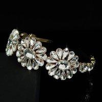 Ainameisi Moda Kafa Gelin Tiaras Renkli Kristal Düğün Saç Aksesuarları Çiçekler Rhinestone Barok Saç Süsler 981 T2