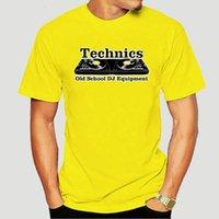 Men's T-Shirts Mens Technics Black Style Old School DJ Tee Tops Short Sleeve Men 6916X