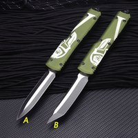 Aluminum Handle Double action Automatic Survival knives 440C Satin blade auto Tactical gear Hunting knife with nylon sheath edc