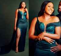 2021 Plus Size Arabic Aso Ebi Dark Green Sexy Prom Dresses Lace High Split One Shoulder Evening Formal Party Second Reception Bridesmaid Gowns Dress ZJ220