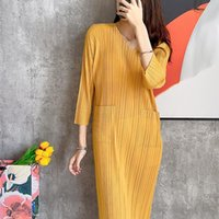 Повседневные платья Changpleat осень Мияк плиссированные моды женские свободные большие размеры O-образным вырезом карманный платье