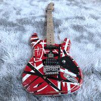 Eddie Van Halen Frankenstrat غيتار كهربائي، أحمر مخطط فرانكي غيتار فرانكنشتاين لا شعار الجسم الخشب الماهوجني