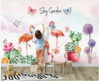 Wallpapers 3d Po Wallpaper Custom Mural Butterfly Flamingo Cactus Succulents Dandelion For Walls In Rolls Home Decor Room