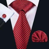 Rode zijde banden voor groothandel mannen plaid en cheques stropdas zakdoek manchetknopen geschenk set voor bruiloft part Business n-1607