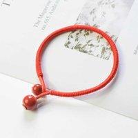 2021 Benmingnian Örme Kırmızı Halat Bilezik Basit Seramik Boncuk El Yapımı Düğün Bahar Festivali Yeni Yıl Hediye