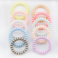 New Women Scrunchy Girl Hair Coil Rubber Hair Bands Ties Rope Ring Ponytail Holders Telephone Wire Cord Gum Hair Tie Bracelet FY4951 CO17