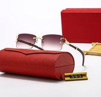 Erkekler için Kırmızı Moda Spor Güneş Gözlüğü Unisex Buffalo Boynuz Gözlük Erkekler Kadınlar Çerçevesiz Güneş Gözlükleri Gümüş Altın Metal Çerçeve Gözlük