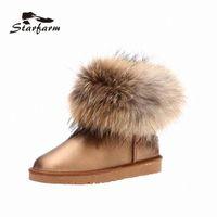 2017 StarFarm Femme Fourrure Boot Snow Femme Bottes Pour Femme Chaussures En Cuir Véritable Hiver Peluche Chaussures Chaussures Chaussures SF1703 R7LA #