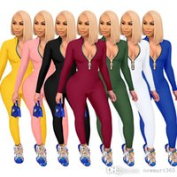 Women Jumpsuits New Fashion Rompers Solid Color Zipper Bodysuit Long-sleeved Trousers One-piece