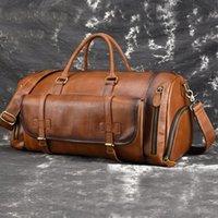 Старинная сумка для путешествий для 17 дюймов ноутбук легкий вес Большая кожаная сумочка Бизнес-багаж мужской тур мужчин Duffel сумки