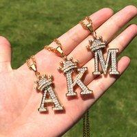 Pendants Crystal Zircon Alphabet Pendant Necklaces for Women Men Crown Initial Letter Necklace Hip Hop Gold Chain Jewelry Collier Bijoux