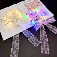 LED colorido três engrenagens mudando luminosa luminosa pérola flâmula fada cocar de renda feminina amarrar laço de cabelo laço