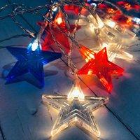 Cordes LED string lumières USA drapeau national bleu rouge rouge blanc couleur étoile lumière pendentif lampes pendentif authentique jour festival fête fête decoratio