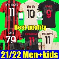 21 22 CA Milan Futebol Jerseys Home 3Rd 2021 2022 Ibrahimovic Youth Tonali Mandzukic Kessie Brahim Bennacer Theo Rebic Leaootes Adulto Homens Kit Kits Kits de Futebol