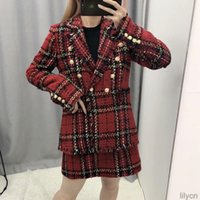 Two Piece Dress Office Ladies Red Plaid Blazer And Mini Skirt Suit Vintage Tweed Suits Jackets Coats Female Autumn Winter Girls Chic