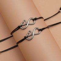 Digital 8 Heart fortunato corda filo filetto Bracciali di fascino per le donne malvagia occhio pulseira amanti regali uomini promessa carta braccialetto