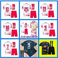 Adultos Kits Kids + Sock RBL Leipziges Jersey 2021 2022 Forsberg Werner Hee-Chan Maillot Halstenberg Sabitzer Poulsen Sets Camisas de futebol