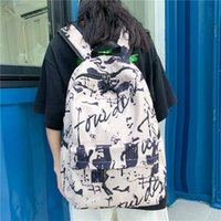 Backpack Unisex Camouflage Print Letter Cool School Bags College Fashion Female For Teenage Girls Women Laptop Graffiti Student