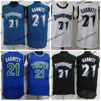 Мужская Винтаж 1995-96 Баскетбол Джетки Kevin 21 Гарнетт Новичок Синие черные белые сшитые рубашки