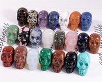 حزب الديكور 1 بوصة كريستال كوارز الجمجمة النحت منحوتة الأحجار الكريمة تمثال تمثال تحصيل الشفاء ريكي هالوين