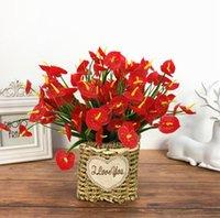 플라스틱 꽃 인공 붉은 anthurium 원피스 7 지점 30 꽃 머리 크리스마스 장식에 대 한 인공 꽃 꽃다발 eeb6098