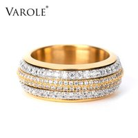 VAROLE Rotatable Multilayer Rings For Women Stainless Steel Gold Color Stack Finger Ring Fashion Jewelry Wholesale Anillos Mujer