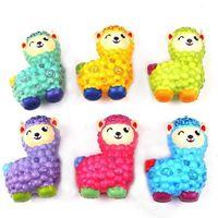 Kawaii Squishy Colorido Alpaca Emulación de rebote lento Pan animal 10cm Squishies Arco iris Cat Squeeze DecomPression Toys Regalos