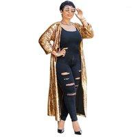 سباركلي الذهب الترتر سترة المرأة الخريف 2021 مفتوحة الجبهة سترة طويلة معطف حزب بريق طويل خندق معطف أبلى للنساء 1