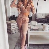 Kadın Eşofman Sonbahar Kırpma Üst Sıcak Kadife Setleri O-Boyun Cepler Uzun Kollu Pantolon Kadın Set 2021 Moda Streetwear Bayanlar Suit