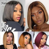 Straight 4X4 Lace Closure Bob Wig Human Hair 180% Density Natural Off Black Omber Piano Color 8-14inch
