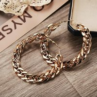 Large Circle Link Chain Hoop Earrings For Women Female Punk Big Metal Hollow Gold Color Geometric Earring Fashion Jewelry1