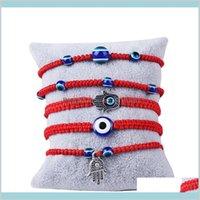 Handwovent Bracelet chanceux Kabbalah Fil à cordes rouges Hamsa Bracelets Bleu Turc Turkish Eye Charm Charme Bijoux Fatima Amitié Drop livrer
