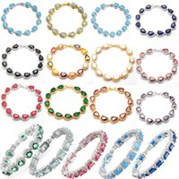 Link, Chain 10PCS Luxury Cubic Zirconia Gold Silver Color Bracelets For Women Water Drop Round Square CZ Fashion Jewelry Wholesale