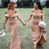 Robes de demoiselle d'honneur Champagne hors de l'épaule Spandex Satin Satin Sirène Zipper Back Wedding Party Bridemaid Robes