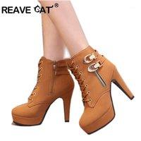 Reave 고양이 봄 가을 여성 발목 부츠 여성 하이힐 레이스 가죽 신발 여성 이중 버클 플랫폼 패션 A2451
