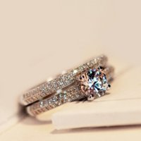 5mm Topaz simulated Diamond 925 Sterling silver Women Wedding Ring Set Engagement Band