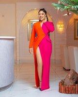 Color Matching Dresses Deep V Neck Long Sleeves Split Evening Dress Custom Made Floor Length Party Gowns