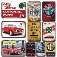 Vintage Alfa Romeo Métal Affiche Signe Garage Accueil Plaque Décorative Personnalité Stickers mural Décor Rétro Parking Plaque de métal