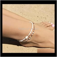 Bohemian Style SHELL NATURAL HECHO Hecho a mano Cuentas de arroz Conch Beaded Beach Dos piezas 1C9LV Anklets Vulfp