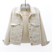 Primavera coreana manga longa casaco de jaqueta de jaqueta de denim mulheres soltas estudante outerwear chaqueta mujer casual jeans bege jeans femininos