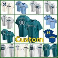 Seattle personalizado 24 ken griffey jr jersey mariners 1 kyle lewis beisebol 17 mitch haniger 34 felix hernandez 51 ichiro suzuki 12 evan branco