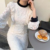 캐주얼 드레스 세련된 기질 부드러운 하프 높은 칼라 콘트라스트 컬러 귀 가장자리 스티치 허리 무거운 산업 레이스 중공 아웃 드레스